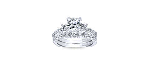 Emerson Platinum Princess Shape Three Stones Engagement Ring