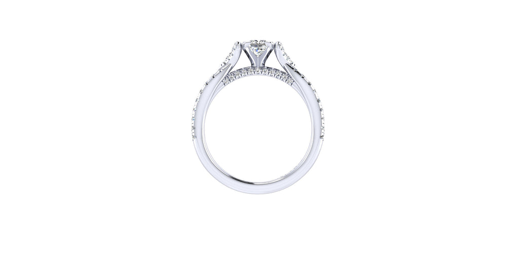 Alicia 14k White Gold Princess Shape Twisted Engagement Ring