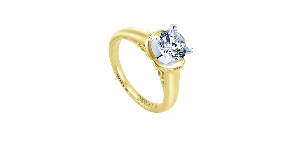 Lenora 14k Yellow Gold Round Solitaire Engagement Ring