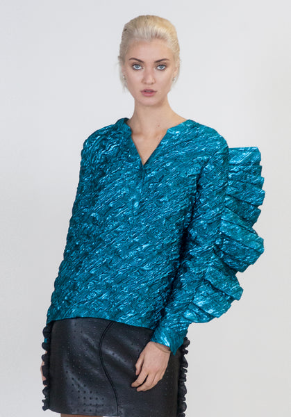 Electric Blue Oversized Ruffle Top