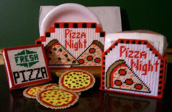 Pizza coasters, napkin holder, and paper plate holder.