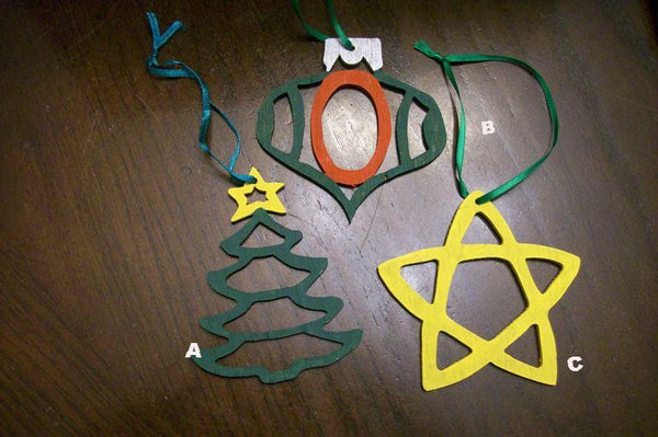 Tree, Star, and Bulb Ornaments