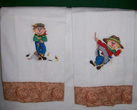 Decorative Pair of Embroidered Scarecrow Towels