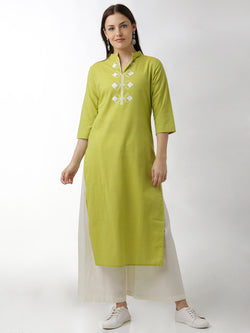 Embroidered Straight Green Kurta