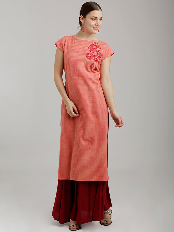 Tone On Tone Embroidered Red Kurta