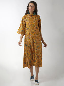 Flared Sleeved Yellow Dress