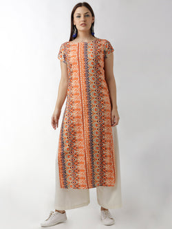 Simple Straight Orange Printed Kurta