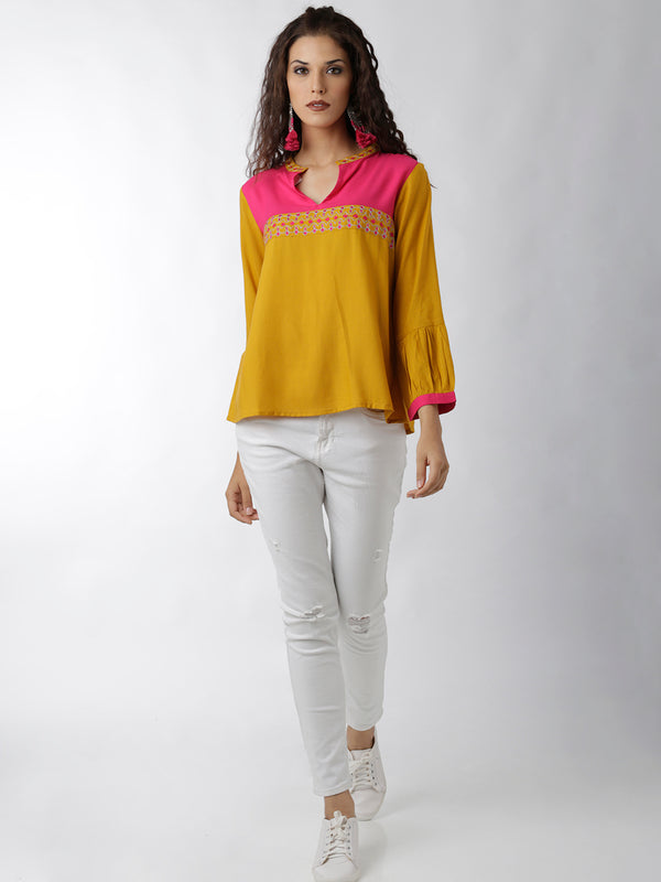 Yellow Solid Mandarin Collar Top