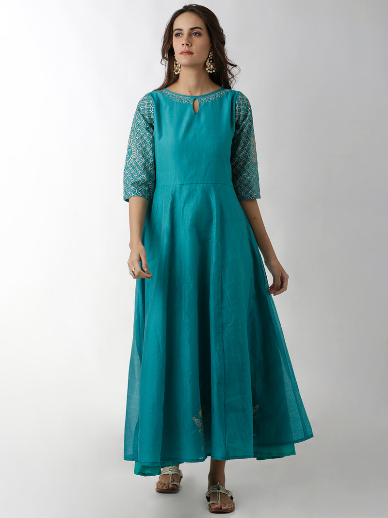 Light Blue Embroidered A-Line Kurta