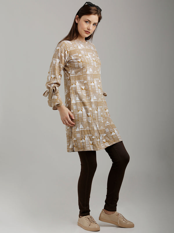 Beige Tie Up Sleeved Tunic