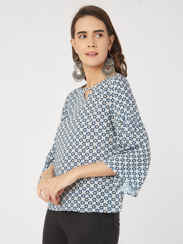 Blue Geometric Printed Top