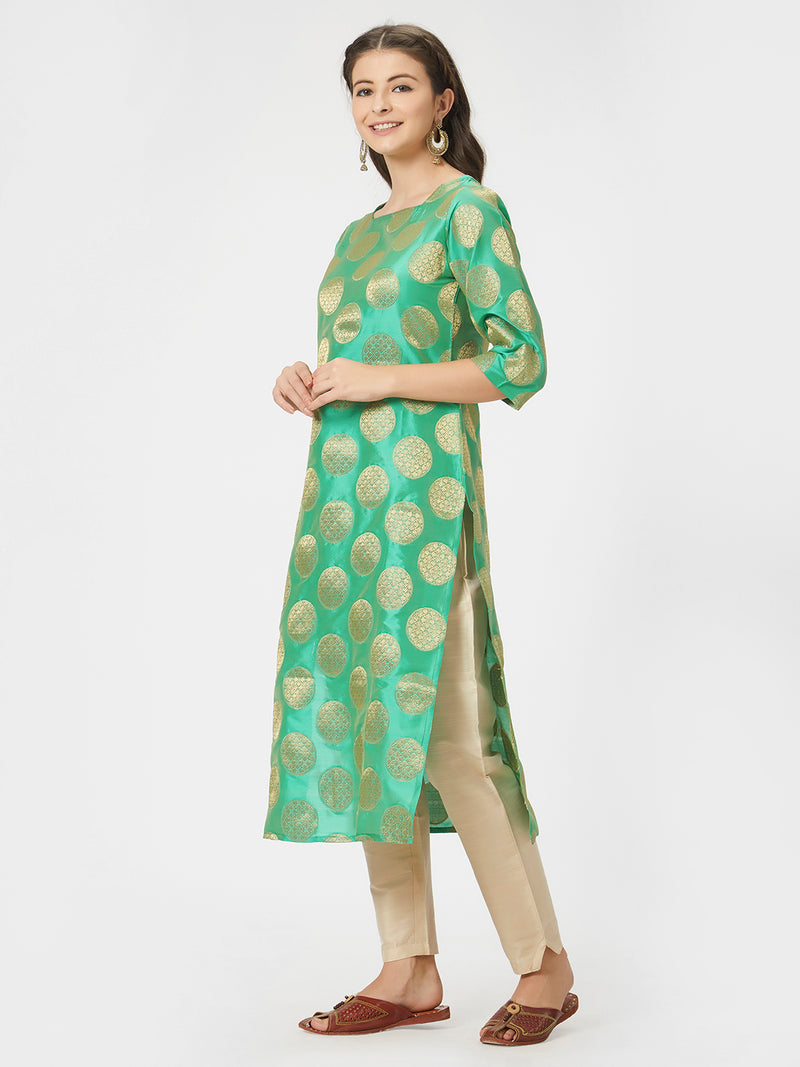 Green Brocade Boat Necked Straight Kurta