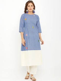 Solid Blue & White Embroidered Kurta