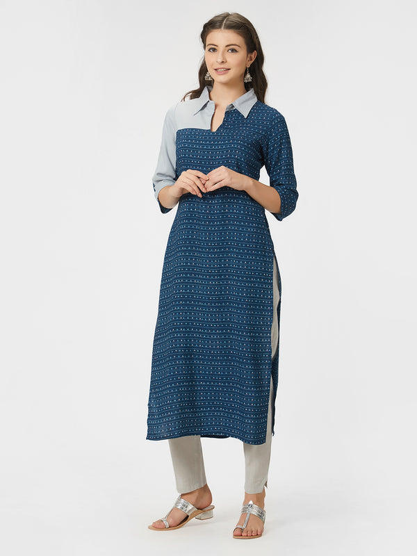 Blue Printed Shirt Collared Contrast Paneled Straight Kurta