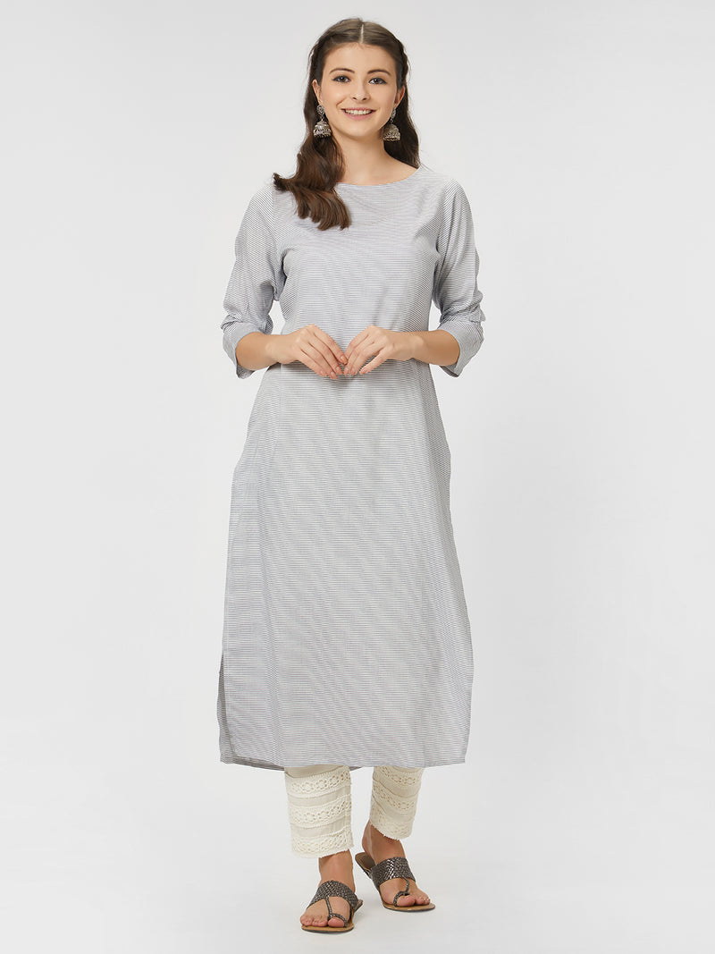 Blue Printed Straight Kurta