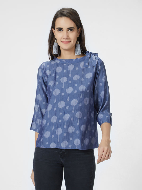 Blue Printed Neck Tie Up Top