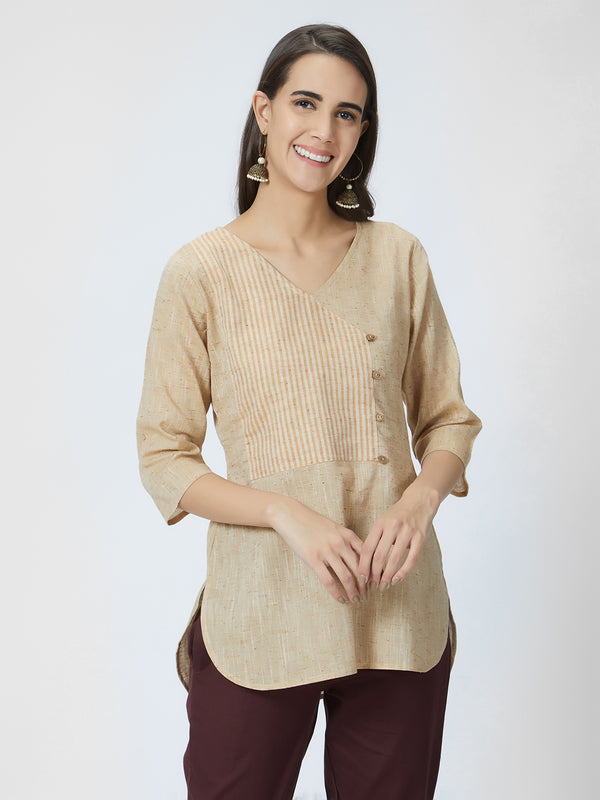 Beige Solid Long Top