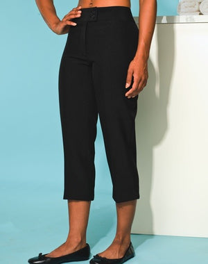 Deep waist band  our Senna cropped trousers have front fastening zipCross over waist band with 2 button fasteningWithout pockets for a flattering fitCrop leg (54cm inside leg)Coodinates with beauty and spa rangeTo fit waist: 23 25 27 29 31 33 35 37 39100% Polyetser plain weave with inherent stretch capabilitiesWeight185gsmBlack only