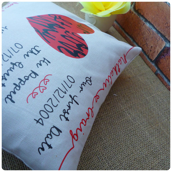 Personalised Love Story Cushion