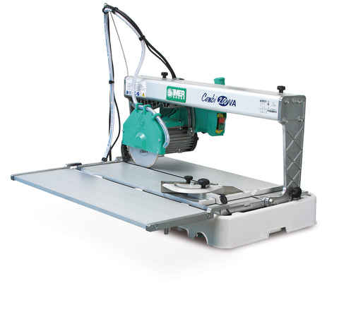"IMER Combi 200 8"" precision lightweight overhead rail saw with stand and side table"