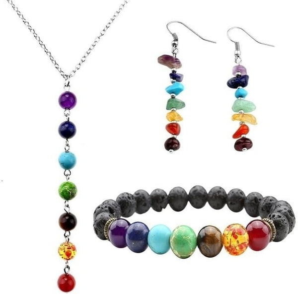 7 Chakra Gemstone jewelry set.