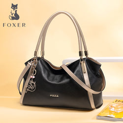 FOXER Genuine Cow Leather Shoulder Bag Female Luxury