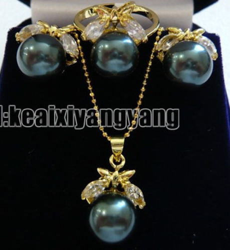 Yellow Gold plate Black Shell Pearl Natural