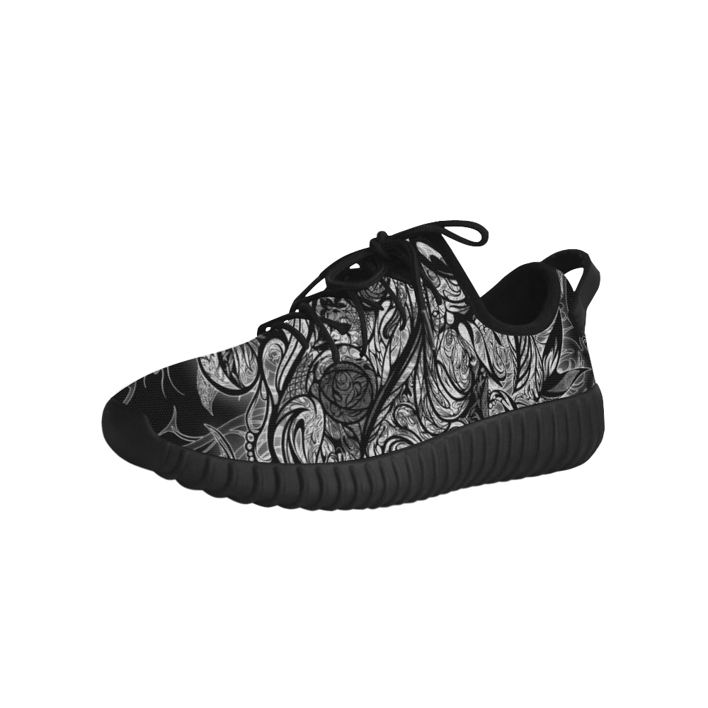 Zen Doodle Black White Ornate Grus Men's Breathable Woven Running Shoes