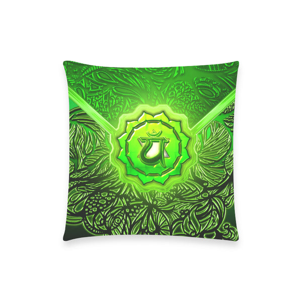 "Heart Chakra Anahata Pillow Case 18""x18"" (one side) No Zipper"