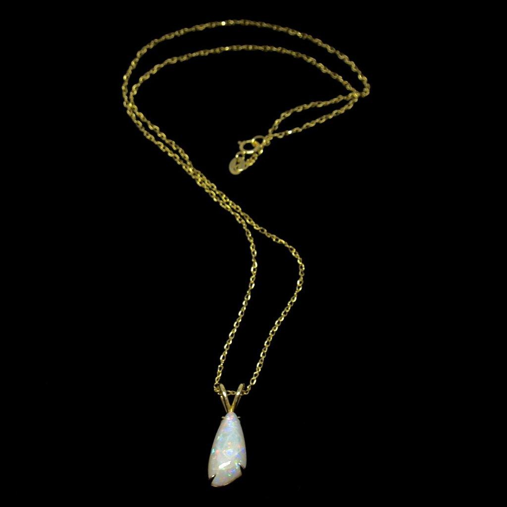 Rare George Brooks Necklace -18K White Opal - Quebec Modernist