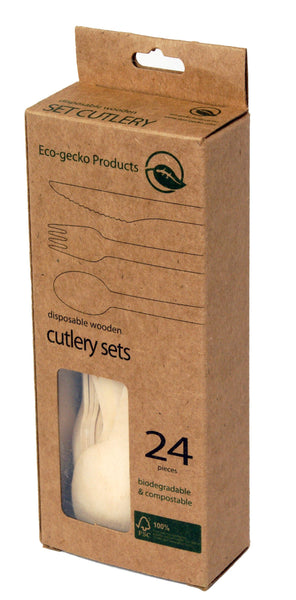 "6 ½"" FSC™-certified Wooden Cutlery in Retail Packs (8 forks, 8 knives, 8 spoons) - 6 packs"