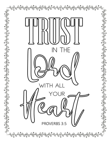 Trust in the Lord Coloring Sheet