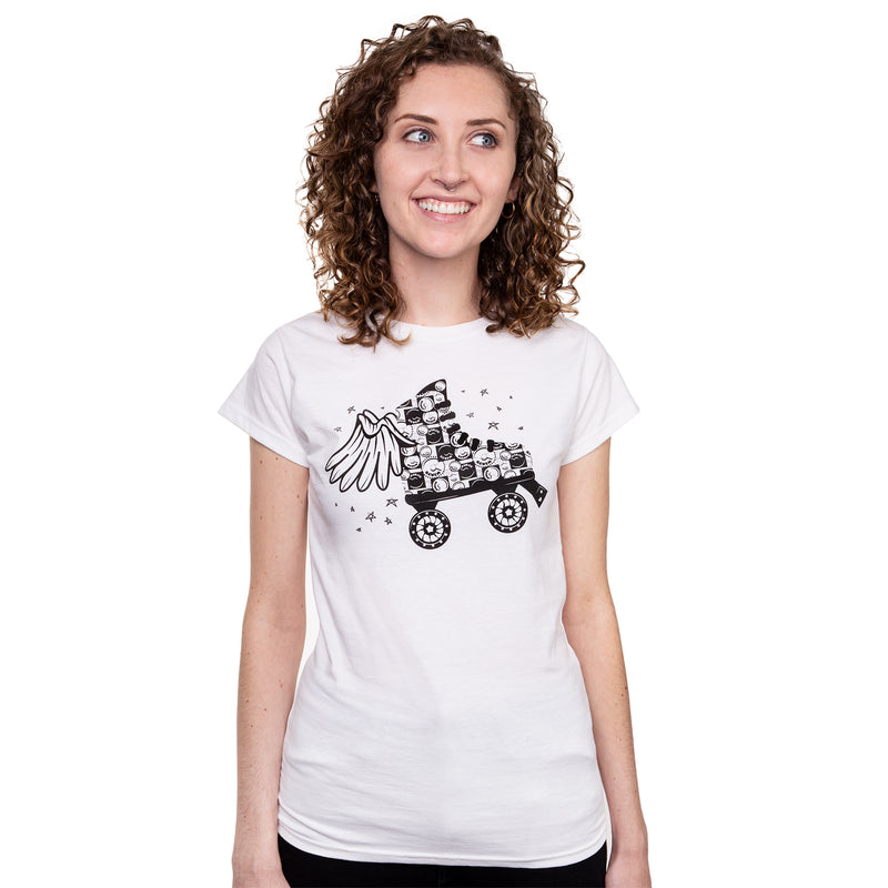 A white t-shirt in a women's cut with an illustration of a black winged quad skate