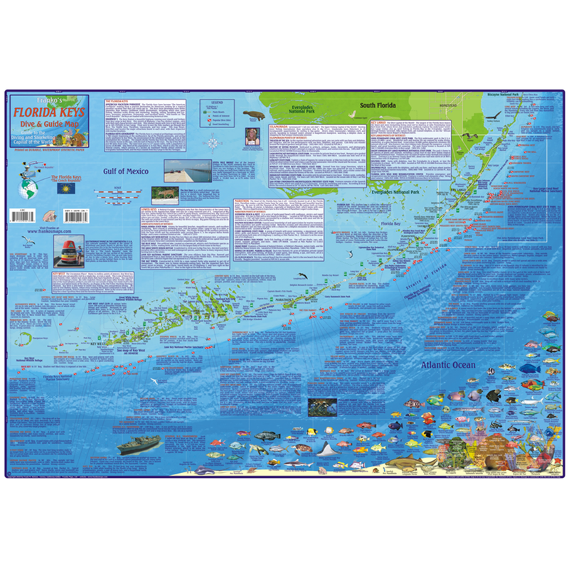 Franko Maps Florida Keys Dive Creature Adventure Guide 18 X 26 Inch