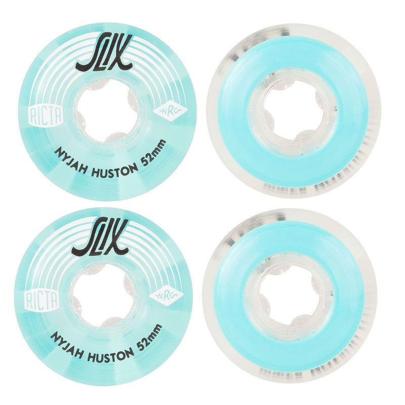 RICTA Skateboard Wheels Nyjah Huston Crystal 52mm Slix 99a Sky Blue 4 Pack