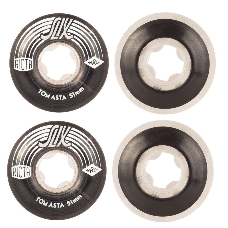 RICTA Skateboard Wheels Tom Asta Crystal 51mm Slix 99a 4 Pack
