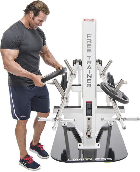 Limitless Free Trainer revolutionizes plate loaded training with one compact machine