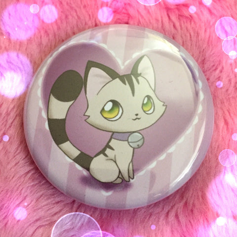 Grey Tabby Love Button