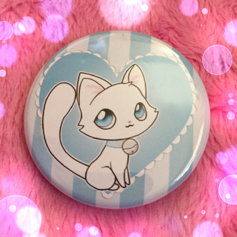 White Cat Love Button