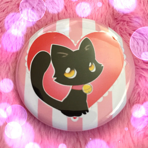 Black Cat Love Button