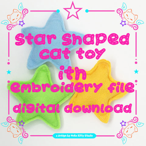 ITH Star Shaped Cat Toy Embroidery File