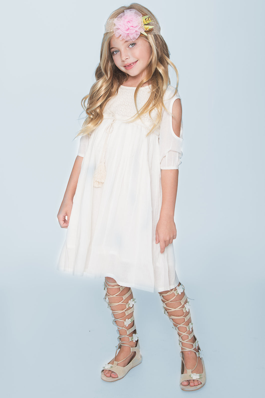 Off-White Lace Detail Cold Shoulder Dress - Kids Wholesale Boutique Clothing, Dress - Girls Dresses, Yo Baby Wholesale - Yo Baby