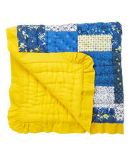 Blue PatchWork Print with Yellow Trim - Kids Wholesale Boutique Clothing, Blanket - Girls Dresses, Yo Baby Wholesale - Yo Baby