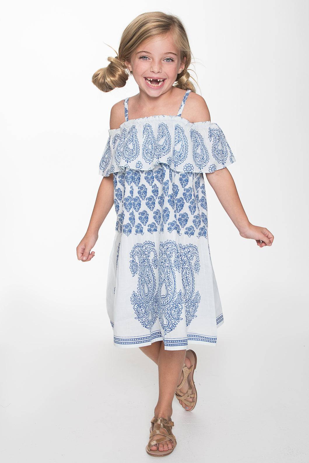 Blue and White Paisley Off-shoulder Dress - Kids Wholesale Boutique Clothing, Shirt-Dress - Girls Dresses, Yo Baby Wholesale - Yo Baby