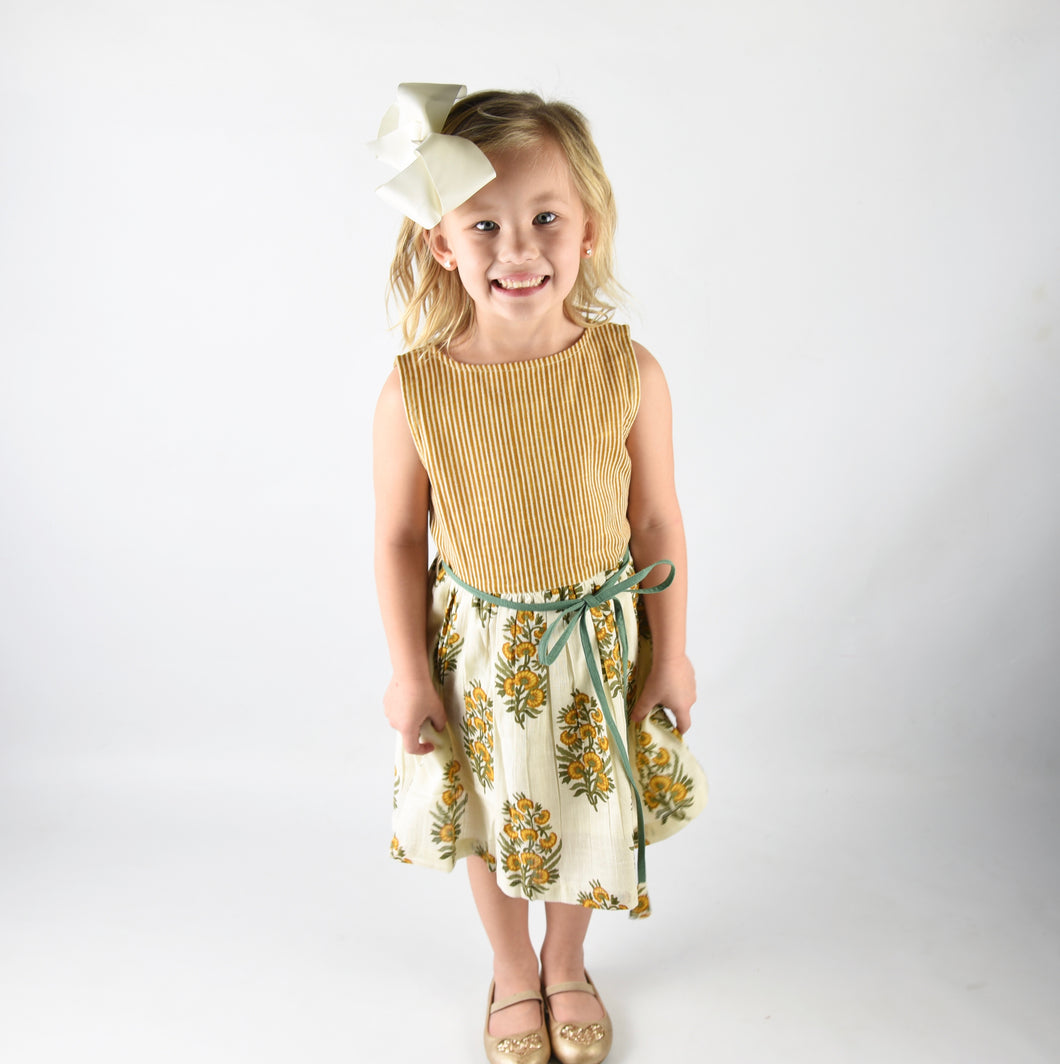 Off White Yellow Floral and Stripes Print Dress - Kids Wholesale Boutique Clothing, Dress - Girls Dresses, Yo Baby Wholesale - Yo Baby