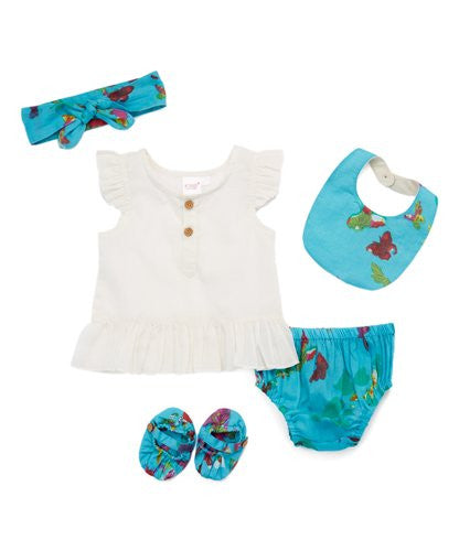 Blue Butterfly Print 5 pc. Set - Kids Wholesale Boutique Clothing, 5-pc. Set - Girls Dresses, Yo Baby Wholesale - Yo Baby