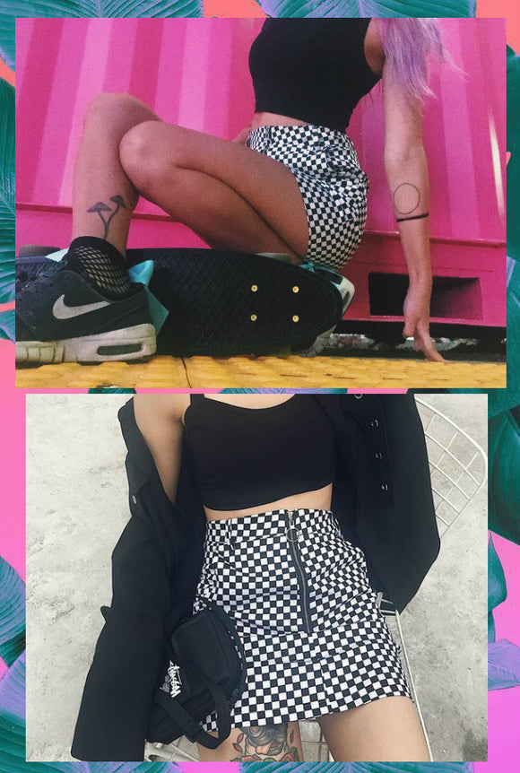 Grunge Checkered Skirt