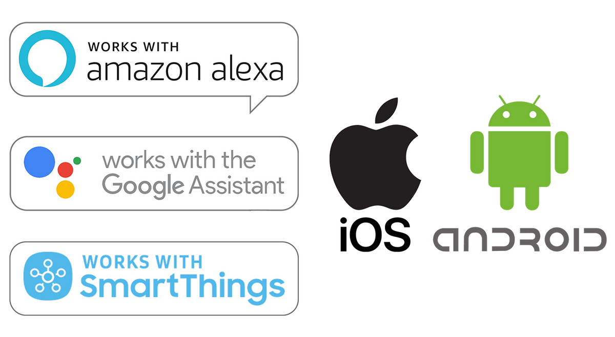 works with amazon alexa, google assistant, smartthings, ios, android