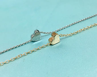 Tiny Heart Necklace, Minimalist Gold Silver Heart Bracelet