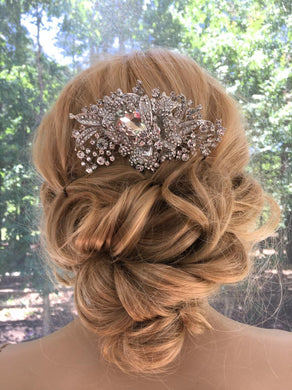 Crystal Hair Accessory For Bride and Bridal Party, Art Deco Great Gatsby Wedding Comb Headpiece